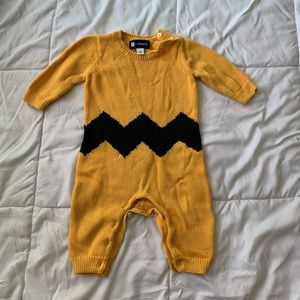Charlie Brown peanuts sweater knit romper